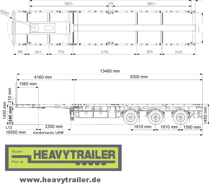 Doll 3-axle-plateau-trailer(double telescopic)