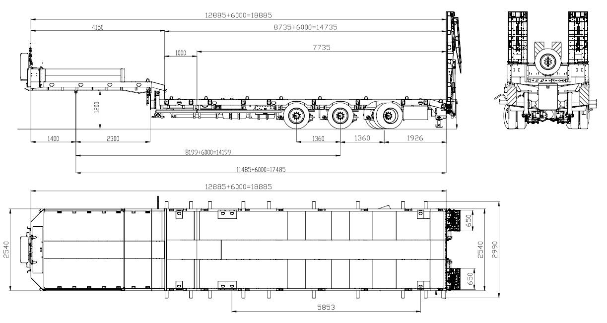 HRD 3-axle-semi-trailer with hydraulic ramps