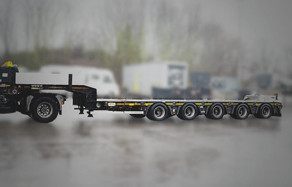 Our special offer for you: Doll 5-axle double telescopic low deck trailer with Panther-axles